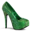 TEEZE-06R Green Satin/Iridescent Rhinestone
